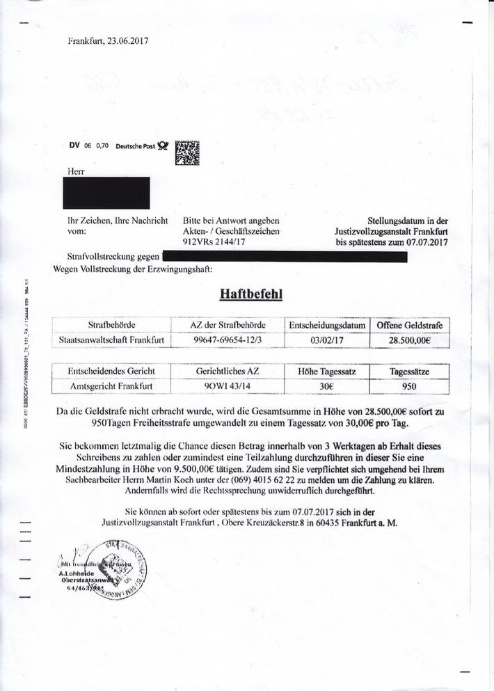 Fake Post Haftbefehl