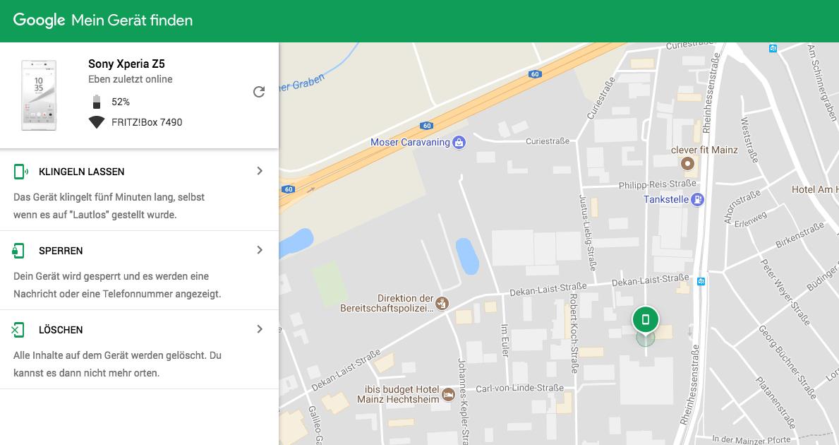 verlorenes handy orten google