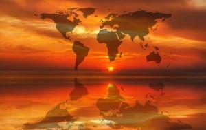 Weltkarte Sonnenuntergang