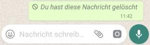 WhatsApp gelöschte Nachricht
